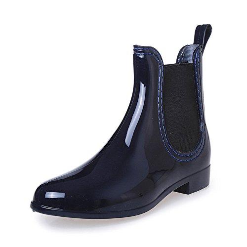 COFACE Damen Fashionable Regenstiefel Kurzschaft Stiefeletten Bequem Gummistiefel Reitstiefelette Rain Boot in 3 Farben für Frühling/Sommer,Blue-37