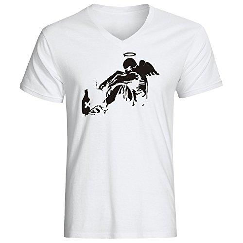 Fallen Angel banksy art dope t-shirt herren v-neck baumwoll weiss (M) (Angel Fallen T-shirt)