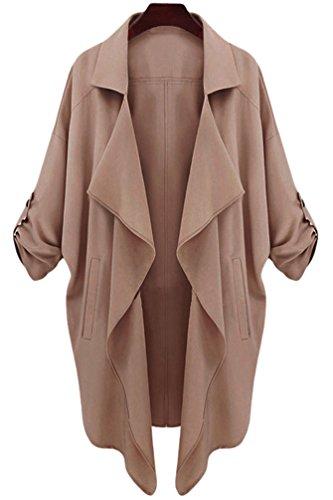 YiLianDa-Donna-34-Corto-Manica-Aperto-Davanti-Colletto-Cappotto-Casual-Giacca-Blazer-Marrone-S