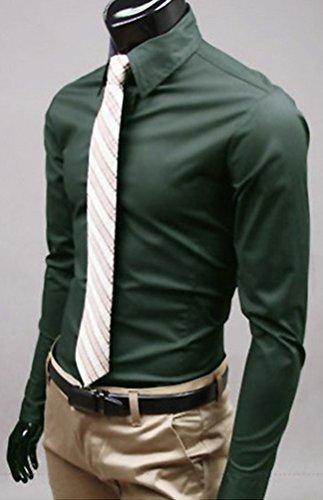 Camicie Uomo Slim Fit Maniche Lunghe Casual Camicia Abito Camicia Affari Top Classiche Formale Camicetta Shirt Moda Men Colore Puro Shirts Verde scuro