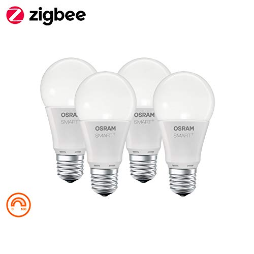 OSRAM Smart+ LED, ZigBee Lamp with E27 Socket, warm white, dimmable, Directly compatible with Echo Plus and Echo Show (2. Gen.), Compatible with Philips Hue Bridge, Pack of 4