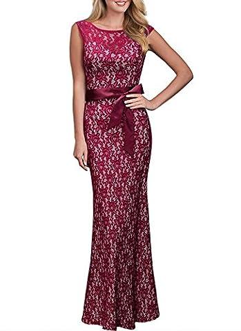 Damen Elegant Cocktailkleid Ärmellos Spitzen Kleid Rundhals Brautjungfer Langes Abendkleid