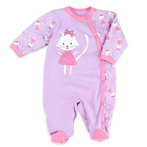 Baby Sweets Baby Strampler Mädchen Flieder | Motiv: Sweet Kitty | Babystrampler mit Katzenmotiv für Neugeborene & Kleinkinder | Größe 9 Monate (74) ... - Monate Overall 9