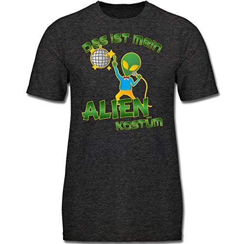 Kinder Kostüm Disco Tanzen - Karneval & Fasching Kinder - Das ist Mein Alien Kostüm Disco - 116 (5-6 Jahre) - Anthrazit Meliert - F130K - Jungen Kinder T-Shirt