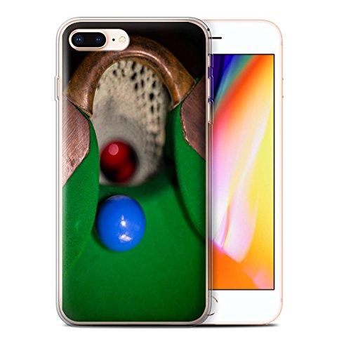 Stuff4 Gel TPU Hülle / Case für Apple iPhone 8 Plus / Blaue Kugel/Rack/Rosa Muster / Snooker Kollektion Blaue Kugel/Rack/Rosa