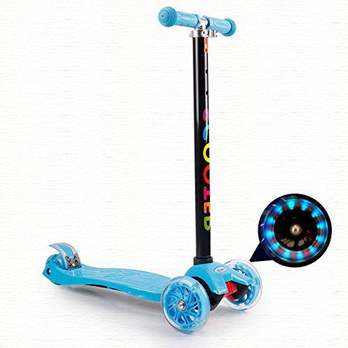 F.RUI KinderScooter YA54 Kinderroller höhenverstellbarer 3-PU Blinkenden LED Rollen Faltbar Leichtgewicht Kinder ab 3-10 Jahren für Jungen und Mädchen