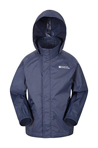 Mountain Warehouse Pakka wasserdichte Kinderjacke - 2 Taschen Kinderjacke, atmungsaktiv, packbare Regenjacke - Ideal zum Wandern Dunkelblau 152 (11-12 Jahre) (Snowboard Jacke Große)