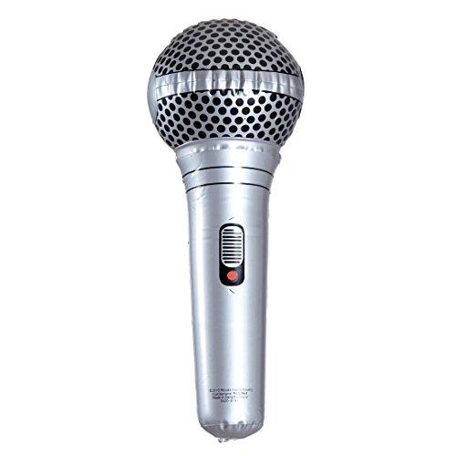NET TOYS Aufblasbares Mikrofon Luft Mikrophon Gummi Mikro PVC Mic aufblasbar Karaoke Scherzartikel Rockstar Micro