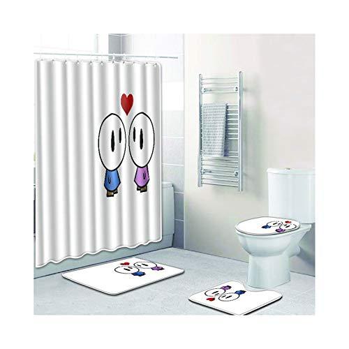 Bishilin Badewannen Duschvorhang 180x180 Paar Herz Badezimmerteppich Set 4 Teilig 45x75 Badematten Set mit WC Teppichset