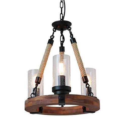 Jtivcs 3 luces Farmhouse Retro Anillo de madera Lámpara de cuerda de cáñamo Iluminación American Country Vintage Lámpara de techo...