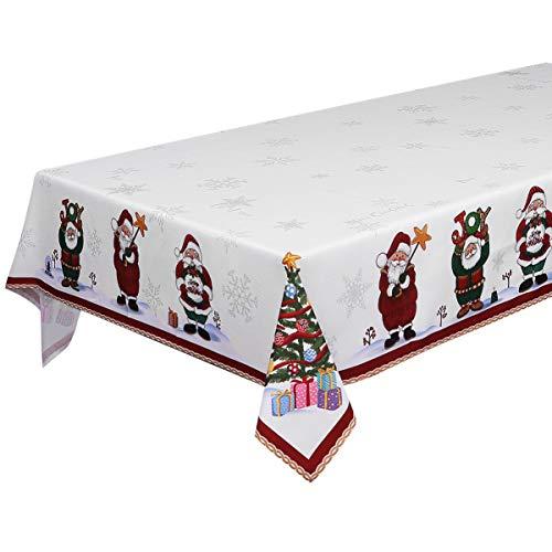 BESTonZON Weihnachtstischdecke Santa Weihnachtsbaum Bedruckte Weihnachtstischläufer Weihnachtstischdeckenabdeckung rechteckig für Weihnachtsfeiertags-Winterhauptdekor 84 x 60In