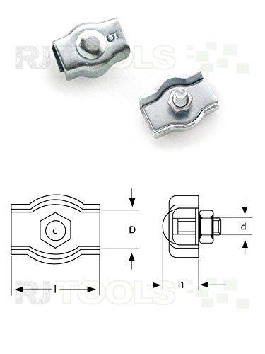 Preisvergleich Produktbild 10 x Simplexklemme 4 mm Klemme - Seilklemme Drahtklemme für Seil-Ø 4 mm ( 917836 )