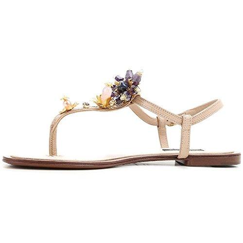 Spartiates Dolce & Gabbana en cuir couleur sable - Code modèle: CQ0073 AD330 80703 Sable