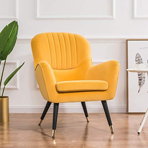 G'z Lounge Accent Stühle für Wohnzimmer gepolstert weichen und Breiten Sitz Massivholz Beine und Armlehne Schlafzimmer Mid-Century Büro Einzelsofa Erwachsene Männer Womens Möbel Dekoration - Accent Stuhl