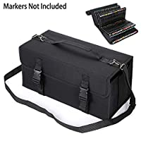 BSTKEY 170 Slots Large Capacity Multi-Layer Canvas Marker Case Bag with Shoulder Strap for Primascolor Markers and Copic Sketch Markers, Lipstick Organizer Storage Bag (Markers Not Included)(Black)