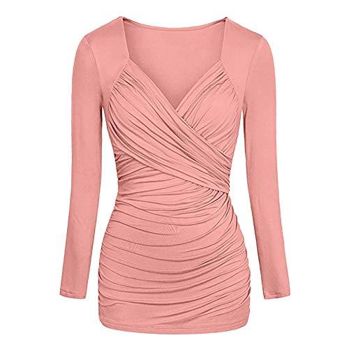 Vêtements d'Hiver Femme, Honestyi Manches Longues col v Couleur Pure plissé Slim Tops Casual Blouse Mode pour Femmes Unie Solide Veste Hauts