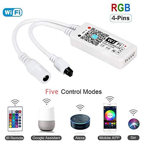 Magic Mini RGB wifi Controller für LED Strip/Streifen Kompatibel mit Alexa, Google Home, IFTTT, IR Fernbedienung Steuerung, 16 Mio Farben, 20 Dynamische Modi -