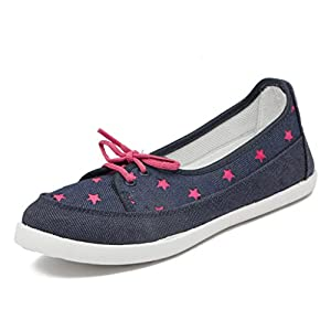 Asian shoes LR-71 Navy Blue Pink Canvas Women Shoes