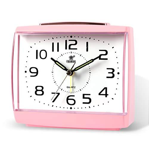 Xu feng sveglia analogica della batteria di rettangolo silenziosa senza ticchettio, bip ascendenti, bip, snooze, funzioni luminose, set facile (colore : pink)