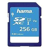 Hama 256 GB SDXC-Speicherkarte, Class 10, V10, UHS-I (bis zu 80MB/s, für Full-HD- und 3D-Video-Aufnahmen, z.B. Digitalkamera, Camcorder, Videokamera, mit Schreibschutz) SDXC-Card