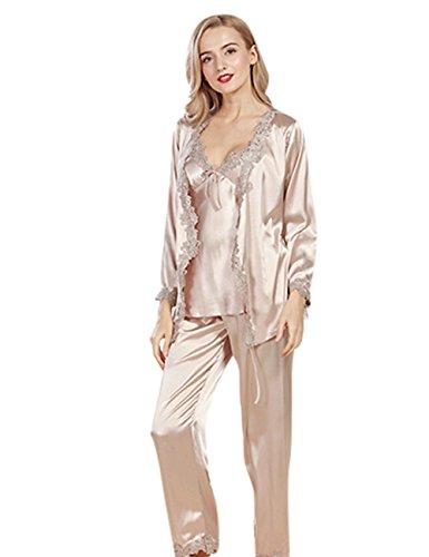 Menschwear Damen Ruhige Träume Pyjama Komfort Fit Top und Hose 3pcs Braun