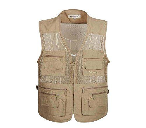 Gilet in maglia traspirante per uomo, gilet multitasche per safari, pesca in campeggio, fotografia in viaggio o qualsiasi giacca avventura (colore : beige2, dimensioni : xxl)