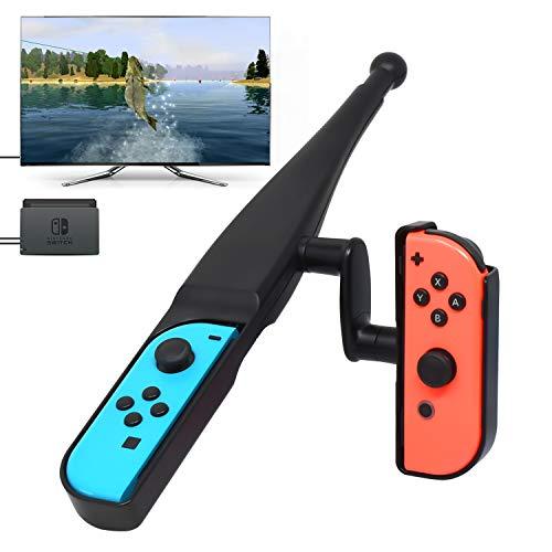 Fyoung Angelrute für Nintendo Switch Joy-Con New Game, Angeln Bass Kit für Switch Joy Cons Controller Bass Pro Shops - The Strike Bundle