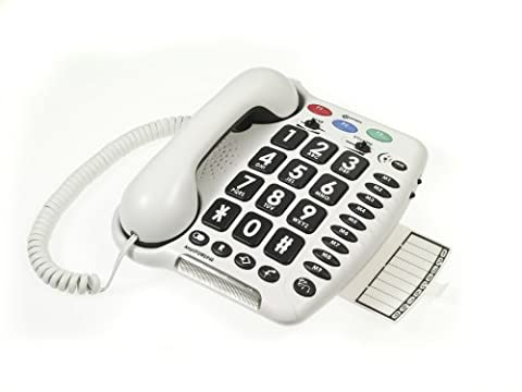 Geemarc AMPLIPOWER 40- Very Loud Amplified Big Button Corded Telephone- White - UK Version
