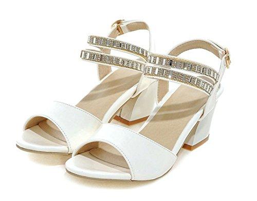 Aisun Femme Elégant Peep Toe Strass Sandales Avec Boucle Blanc