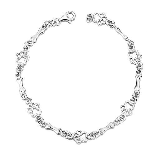 Silver Mountain 925 Sterling Silber Welpe Pfote und Knochen Armband für Frauen und Mädchen,19 cm (Sterling Silber Pfote Ring)