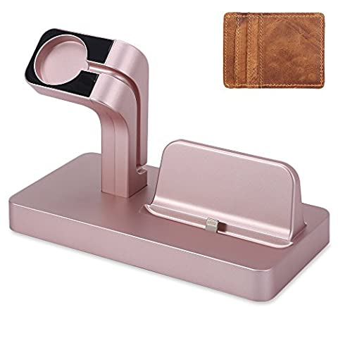 PDXD-SHARE 2 in 1 Charging Dock Station Stand Holder for Apple iWatch & iPhone (Rose Gold)