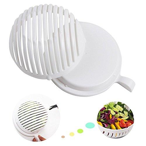 Salatschneider Schlüssel Teilig Set Sieb Salatschleuder, Salad Bowl Cutter Maker Gemüseschneider Schüssel, 3 in 1 , Obst Gemüse Salat in 60 Sekunden (Schüssel-set Bpa-frei)