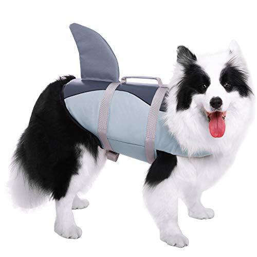 CITÉTOILE Hundeschwimmweste Mit Weichem Griff Rettungsweste Schwimmkörper für Haustierschwimmen Rafting Bootfahren Surfen Training Gewässern, XS-XL - Grau Körperliches Training