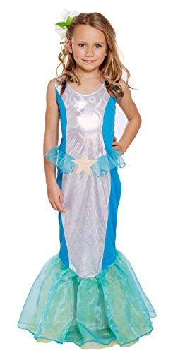 Lollipop Kleidung Kinder Mädchen Fancy Kleid LITTLE MERMAID WBD Kostüm grün Ariel Fisch Schwanz Gr. L, Blau - Blau