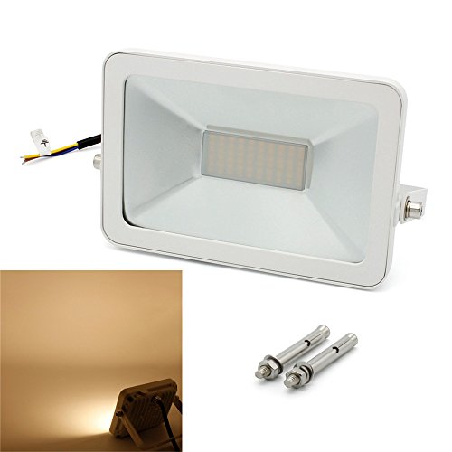 BAODE[Upgrade] LED Fluter,LED-Strahler 30w Warmweiß Licht Scheinwerfer 3000K Ultraheller Fluter mit Dehnschrauben 3000lm, ersetzt 180W Leuchtstoffröhre, Baustrahler IP65 Wasserdicht
