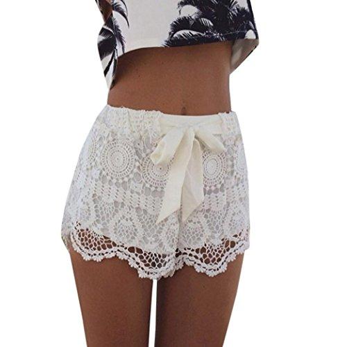 Damen Hosen Sommer LHWY Frauen Elastische Taille Spitzen Shorts Gehäkelte Strand Mini Shorts Sports Pants Teenager Mädchen Verbandshosen (M, Weiß) (Spitze Pullover Gehäkelte)