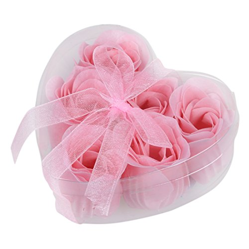 SODIAL (R) 6 Stueck Hellrosa Dekorative Duftende Rosen-Knospe Bluetenblatt Seife Hochzeit Gunsten