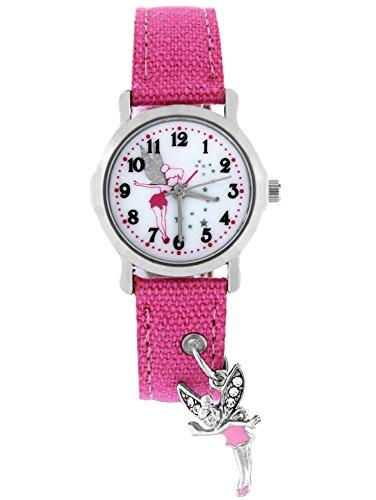 Pacific Time Kinder-Armbanduhr Elfe Anhänger Armbanduhr Kinder Mädchen Kinderuhren Uhren Uhr Kinderarmbanduhr Kinderuhr analog Quarz rosa (Kostüme Fantasy Elfen)