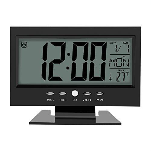 Multifunktions Klangsteuerung Große LCD Digitaluhr Tisch Schreibtisch Wecker mit Zeit Kalender Woche Temperaturanzeige Snooze Uhren(Schwarz)