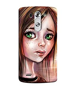 PrintVisa Designer Back Case Cover for LG G3 S :: LG G3 S Duos :: LG G3 Beat Dual :: LG D722K :: LG G3 Vigor :: LG D722 D725 D728 D724 (Coat Animated Daughter Black Hair Sitting Beautiful Miss)