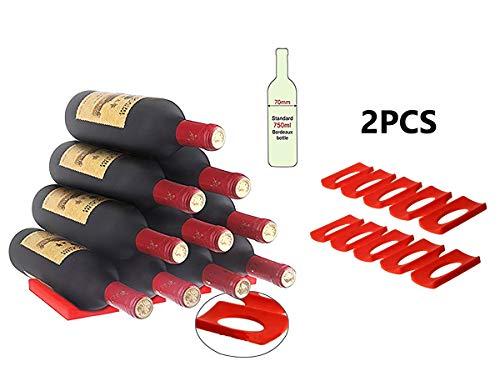 Silikon-Weinflaschenhalter, faltbar, platzsparend, Rot, 2 Stück