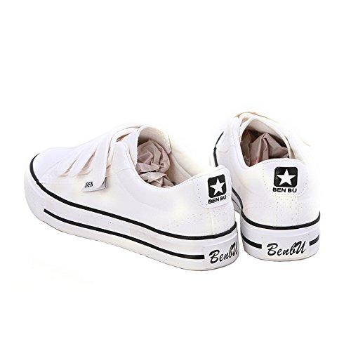 Dayiss® Unisex-Erwachsene Sneaker Wandernschuhe Halbschuhe Klettverschluss Leinenschuhe Turnschuh Schlupfschuh Sport & Outdoors Weiß