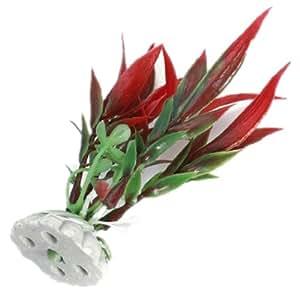 Artificielle Fausse Plante vegetal Herbe Aquarium Plastique Poisson Fish DECO rouge