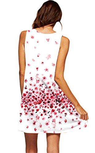 Minetom Donna Abito Estivo Vestito Della Gilet Senza Maniche Beach Stampato Abito Corto Mini Vintage Boho Fiore Stampato Dress Rosa