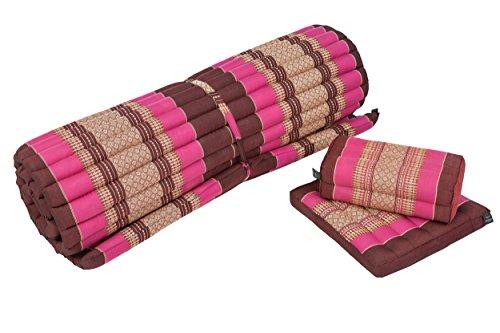 Handelsturm Thaimatten Set: Rollmatte 200x100 + Kissen 35x15x10 + Sitzkissen 40x40 Thaikissen Liege Set für Entspannung und Massage...