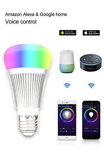 Smart Lampe, Intelligente LED-Birne, Wi-Fi-Licht,Alexa Lampen , mehrfarbige LED-Lampen, E27 LED Dimmbare 60W gleichwertig (7W), funktioniert mit Amazon Alexa und Google Home,Einstellung der Szenen,steuerbar über eine App ,für iOS und Android