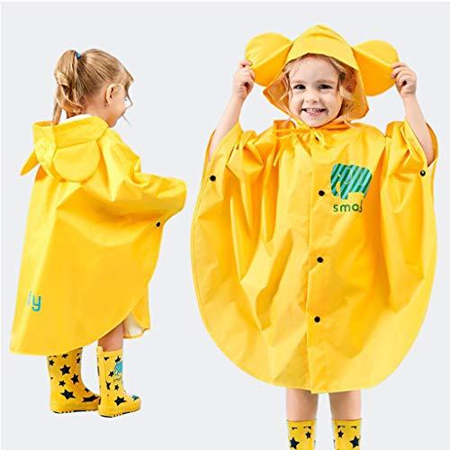 GudeHome Unisex Kind Regenjacke Mädchen Jungen Mit Kapuze Wasserdichte Regen Poncho, 100-120cm Gelb