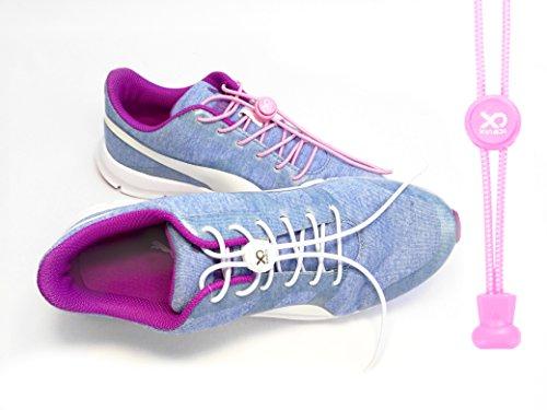 Preisvergleich Produktbild XingDi - 2x 100 cm - (ein Paar) - Rosa - Elastische Schnürsenkel geeignet für Sport und Freizeitschuhe - Schnellverschluss für den idealen Halt der Schuhe