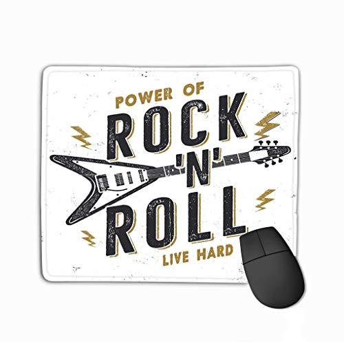 Rectangle Non-Slip Rubber Mousepad 11.81 X 9.84 Inch Vintage Hand Drawn Rock n roll Poster Music Hard Design Power Quote Stock Retro Wallpaper Emblem Isolated Vintage Hard Rubber