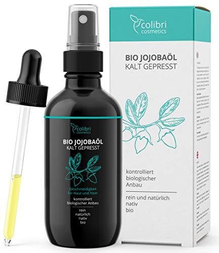 Bio Jojobaöl 100% rein - für gesunde Haare, weiche Haut und starke Nägel - 120ml in Lichtschutz...